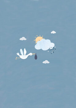 Illustrazione Baby boy stork