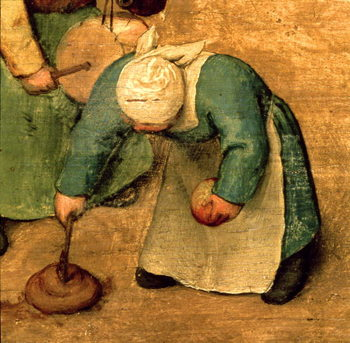 Children's Games (Kinderspiele): detail of a girl playing with a spinning top, 1560 (oil on panel) - Stampe d'arte