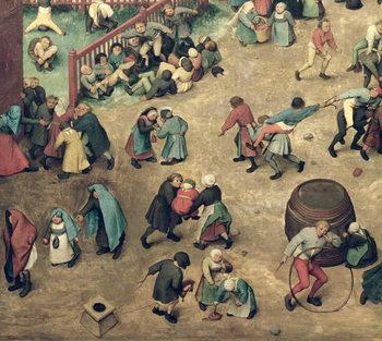 Children's Games (Kinderspiele): detail of left-hand section showing children bowling hoops, doing handstands, playing with a hobby-horse and other games, 1560 (oil on panel) - Stampe d'arte