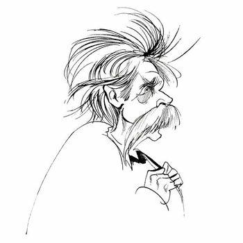 Edvard Grieg, Norwegian composer , sepia line caricature, 2006 by Neale Osborne - Stampe d'arte