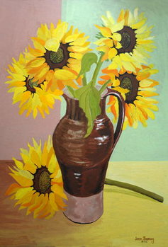Five Sunflowers in a Tall Brown Jug,2007 - Stampe d'arte