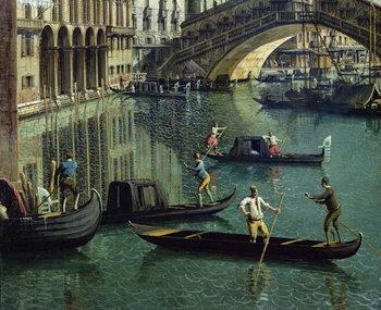 Gondoliers near the Rialto Bridge, Venice (oil on canvas) - Stampe d'arte