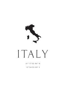 Illustrazione Italy map and coordinates