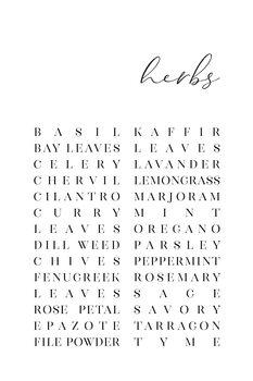 Illustrazione List of herbs typography art