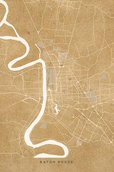 Illustrazione Map of Baton Rouge, LA, in sepia vintage style