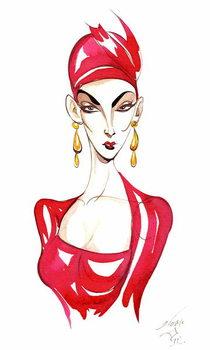 Model in a red costume - Stampe d'arte