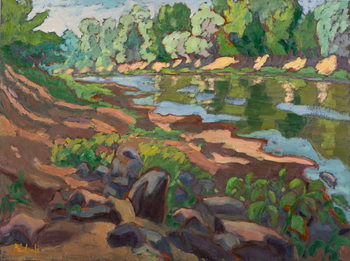 On the Shady Side of River Koros  oil on board - Stampe d'arte