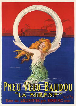 Poster advertising 'La Sirene' bicycle tires manufactured by Pneu Velo Baudou, c.1920 - Stampe d'arte