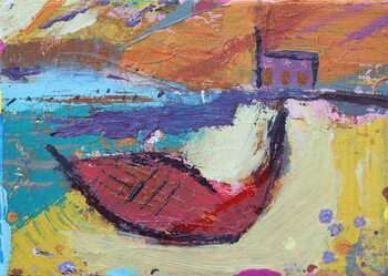 Red boat Iona - Stampe d'arte
