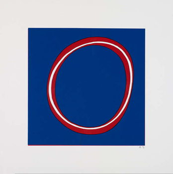 Red Circle on Blue - Stampe d'arte