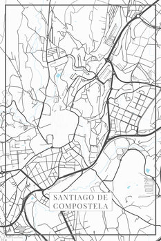 Mappa Santiago de Compostela white