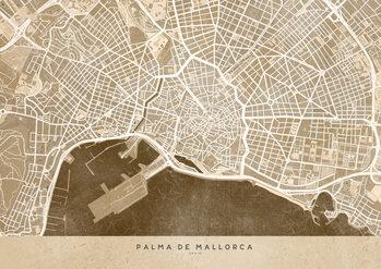 Mappa Sepia vintage map of Palma de Mallorca