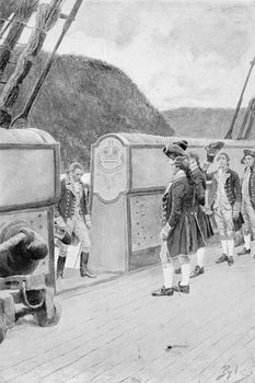 The Escape of Arnold on the British Sloop-of-War 'Vulture', illustration from 'General Washington' by Woodrow Wilson, pub. in Harper's Magazine, 1896 - Stampe d'arte