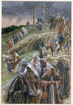 'The people, beholding the things that were done, smote their breasts', illustration for 'The Life of Christ', c.1886-96 - Stampe d'arte