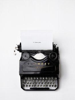 Illustrazione type writer i love you