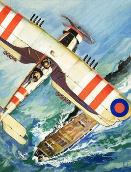 Unidentified bi-plane flying over an aircraft carrier - Stampe d'arte