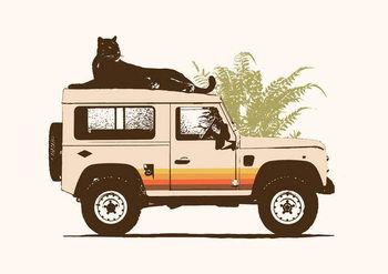 Black Panther on Car - Stampe d'arte