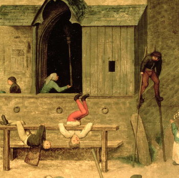 Children's Games (Kinderspiele): detail of a boy on stilts and children playing in the stocks, 1560 (oil on panel) - Stampe d'arte