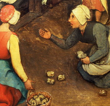 Children's Games (Kinderspiele): detail of a game throwing knuckle bones, 1560 (oil on panel) - Stampe d'arte