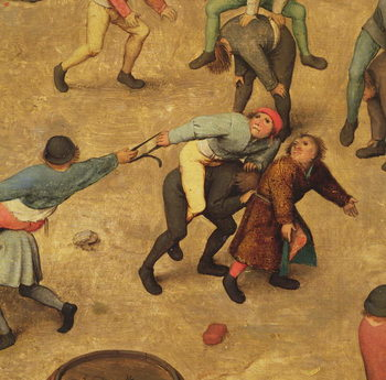 Children's Games (Kinderspiele): detail of children on piggy-back, 1560 (oil on panel) - Stampe d'arte