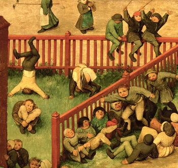 Children's Games (Kinderspiele): detail of left-hand section showing children running the gauntlet, doing gymnastics and balancing on a fence, 1560 (oil on panel) - Stampe d'arte