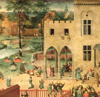 Children's Games (Kinderspiele): detail of top left-hand corner showing children spinning tops and playing bowls, 1560 (oil on panel) - Stampe d'arte