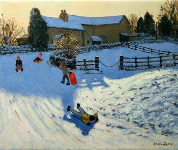 Children Sledging, Monyash, Derbyshire - Stampe d'arte