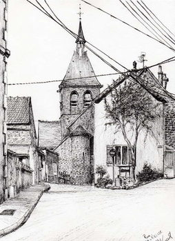 Church in Laignes France, 2007, - Stampe d'arte