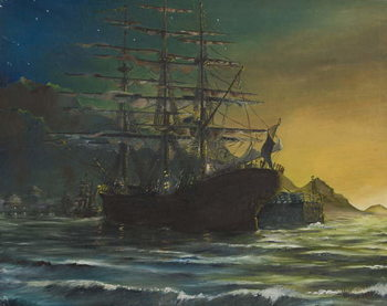 Clipper ship in port 1860's, 1991, - Stampe d'arte