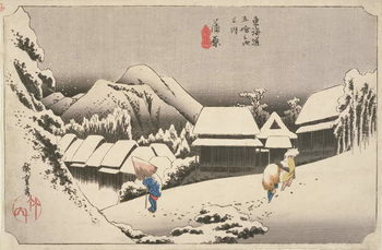Evening Snow at Kambara, No.16 from 'The 53 Stations of the Tokaido', pub. by Hoeido, 1833, - Stampe d'arte