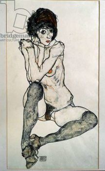 Female naked sitting. Drawing by Egon Schiele , 1914. Black chalk and watercolor on paper. Dim: 48,3x32cm. Vienna, Graphische Sammlung Albertina - Stampe d'arte