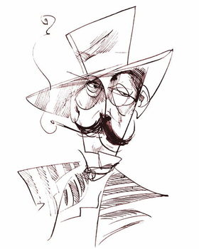 Giacomo Puccini, Italian opera composer , sepia line caricature, 2006 by Neale Osborne - Stampe d'arte