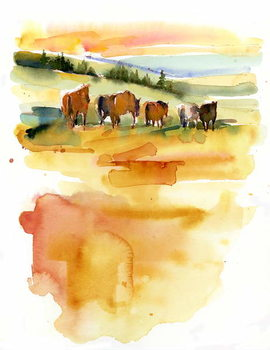 Horses at Sunset, 2015, - Stampe d'arte