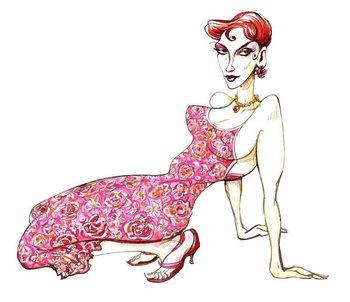 Model in a pink floral dress - Stampe d'arte