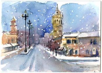 Plaza in winter, 2015, - Stampe d'arte