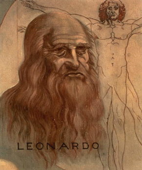 Portrait of Leonardo da Vinci with his `Vitruvian Man' - Stampe d'arte