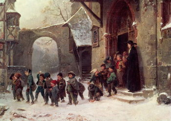 Snow Scene: Children Leaving School, c.1853 - Stampe d'arte