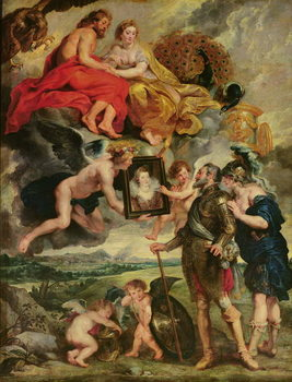 The Medici Cycle: Henri IV (1553-1610) Receiving the Portrait of Marie de Medici (1573-1642) 1621-25 - Stampe d'arte
