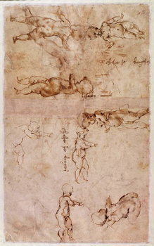 W.4v Page of sketches of babies or cherubs - Stampe d'arte