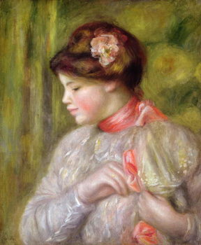 Young woman adjusting her blouse, 1900 - Stampe d'arte