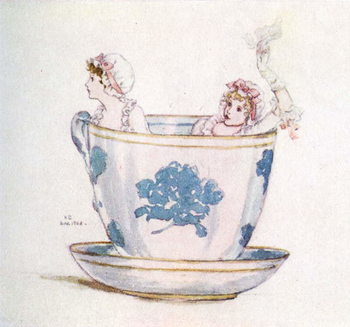 'A calm in a  tea-cup' by Kate Greenaway Reproducere