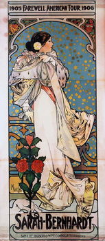 A poster for Sarah Bernhardt's Farewell American Tour, 1905-1906, c.1905 Reproducere