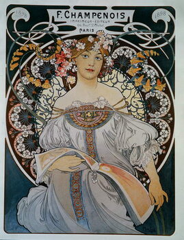 Advertising for the printer-publisher F. Champenois - by Mucha, 1898. Reproducere