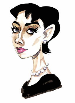 Audrey Hepburn - colour caricature of Belgian-born actress 1929-93 Reproducere