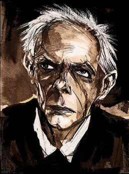 Bela Bartok by Neale Osborne,  Caricature in pen and water colour Reproducere