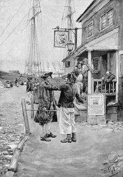 Brownejohn's Wharf, New York, illustration from 'Old New York Taverns' by John Austin Stevens, pub. in Harper's Magazine, 1890 Reproducere