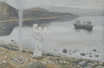 Christ Appears on the Shore of Lake Tiberias, illustration from 'The Life of Our Lord Jesus Christ', 1886-94 Reproducere