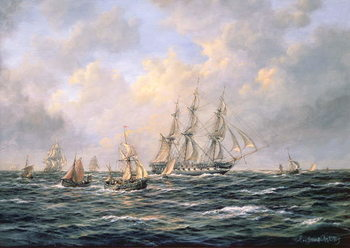 Convoy of East Indiamen amid Fishing Boats Reproducere