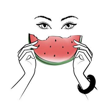 Ilustrare Eating Melon