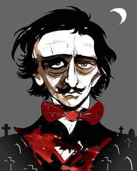 Edgar Allan Poe - colour caricature Reproducere